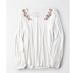 AEO Soft & Sexy Embroidered Long Sleeve Top